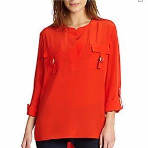 Diane Von Furstenberg Red Silk High Low Blouse 8 M